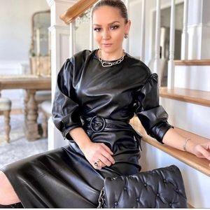 NWT ZARA Faux Leather Dress With Belt M